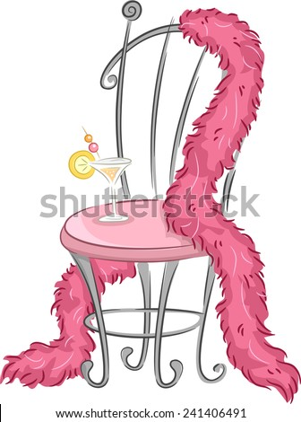 Illustration of a Fancy Chair with a Pink Feather Boa Draped Around it While a Glass of Wine Sits on It - stock vector