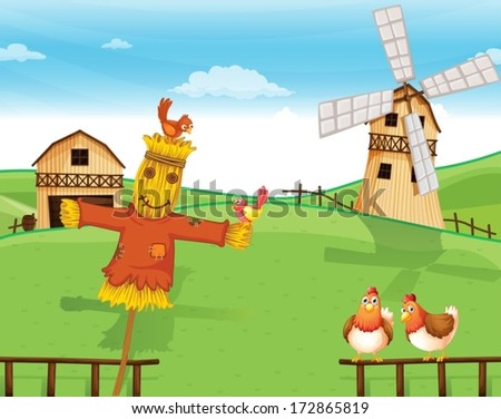 Illustration of a farm with a scarecrow - stock vector