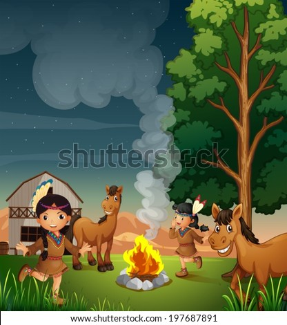Illustration of a farm with Indian girls - stock vector