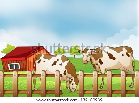 Illustration of a farm with two cows inside the fence