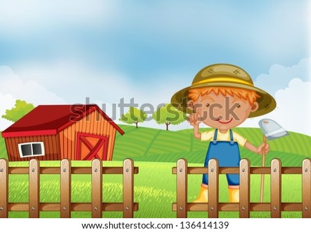 Illustration of a farmer holding a hoe inside the wooden fence with barn - stock vector