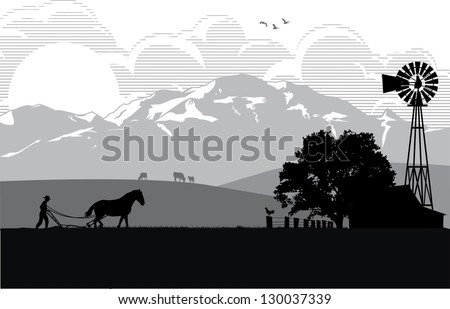 Illustration of a farmer plowing rice field at sunrise, vector - stock vector