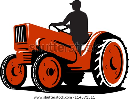 Illustration of a farmer tractor driving vintage tractor on isolated background done in retro style - stock vector
