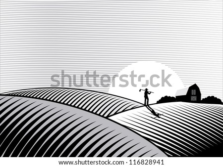 Illustration of a Farmer walking at sunset in woodcut style - stock vector