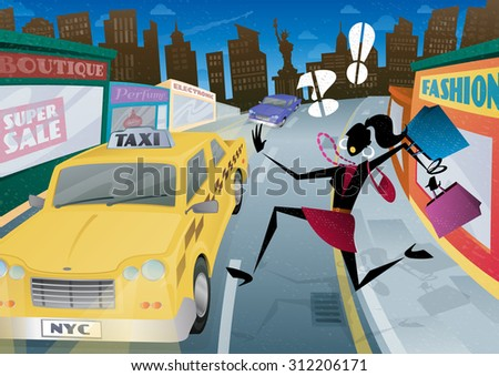 Illustration of a fashionable but worried young woman shopper who is waving and calling for the last Taxi home in the streets of New York City.
