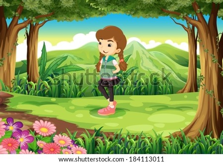 Illustration of a fashionable young girl at the forest - stock vector