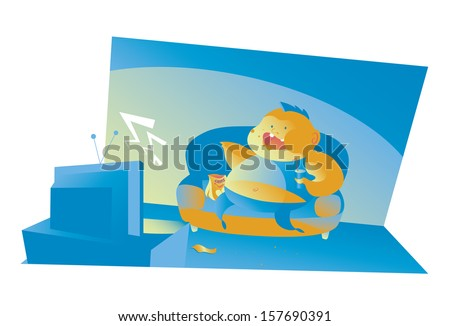 Illustration of a fat and inactive boy. Concept: youth fatness  - stock vector