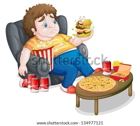 Illustration of a fat boy in front of a lots of foods on a white background - stock vector