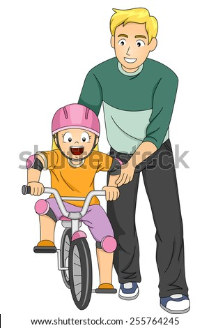 Illustration of a Father Teaching His Daughter How to Ride a Bike - stock vector
