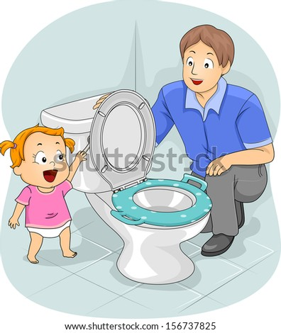 Illustration of a Father Teaching His Young Daughter How to Flush the Toilet - stock vector