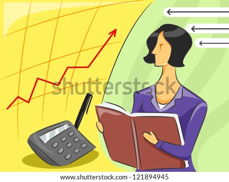 Illustration of a Female Accountant observing an economy graph - stock vector