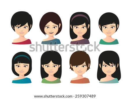 Illustration of a female asian avatar  - stock vector