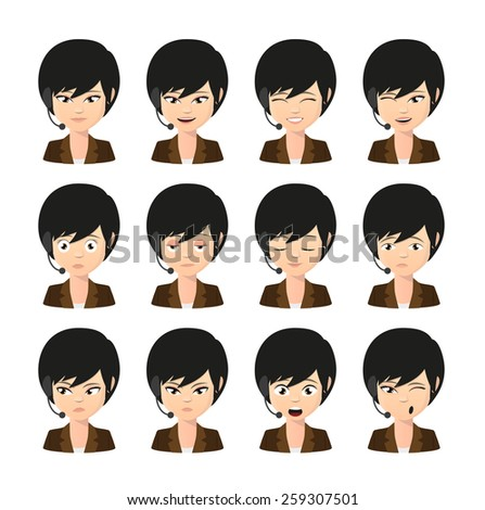 Illustration of a female asian operator avatar wearing headset expression set - stock vector