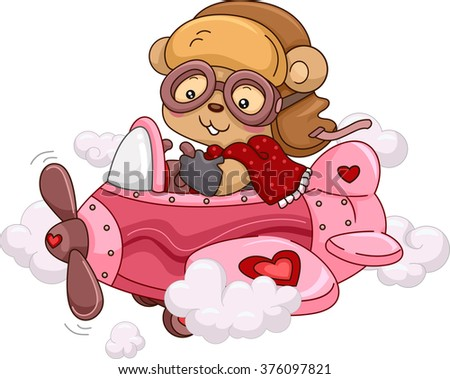 Illustration of a Female Bear Riding a Cute Pink Airplane - stock vector