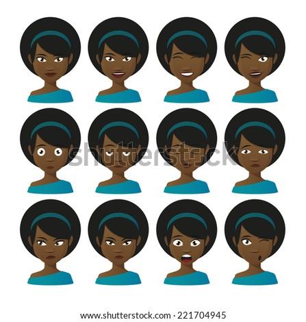 Illustration of a female cartoon avatar expression set - stock vector