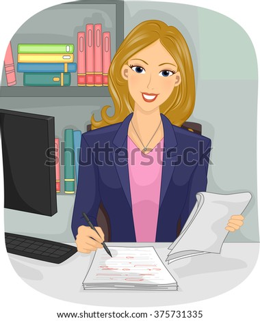 Illustration of a Female Copy Editor Checking a Manuscript - stock vector