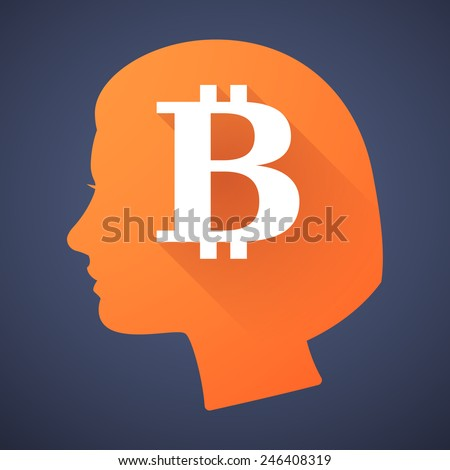 Illustration of a female head silhouette with a bitcoin sign - stock vector
