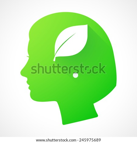 Illustration of a female head silhouette with a leaf