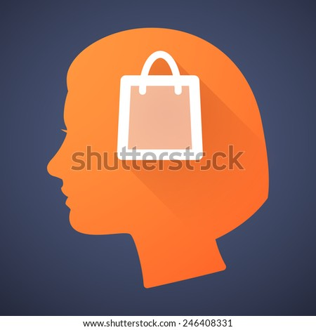 Illustration of a female head silhouette with a shopping bag - stock vector