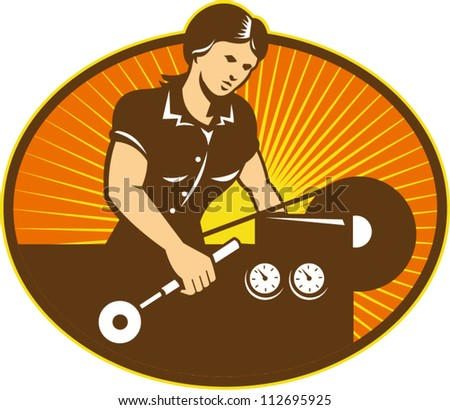 Illustration of a female machinist factory worker working on lathe machine set inside ellipse done in retro style. - stock vector