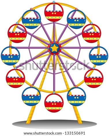 Illustration of a ferris wheel on a white background - stock vector