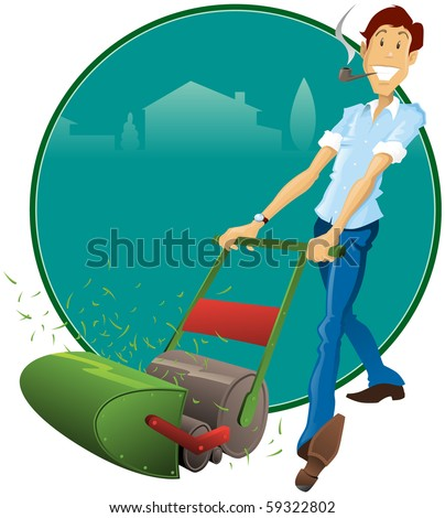 Illustration of a fifties Retro Style father with his pipe and Lawnmower. All elements on separate layers for easy editing.