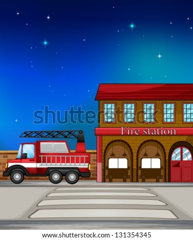 Illustration of a fire truck near the fire station - stock vector