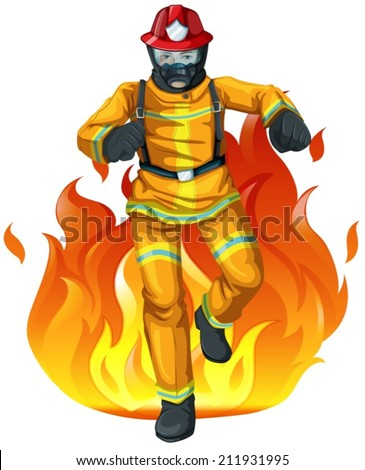 Illustration of a fireman and the big fire on a white background - stock vector