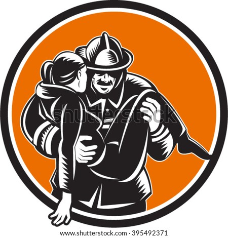 Illustration of a fireman fire fighter emergency worker carrying saving girl running viewed from front set inside circle done in retro woodcut style.  - stock vector