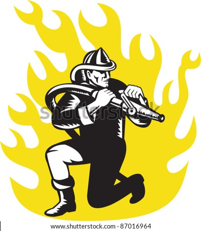 illustration of a fireman firefighter kneeling aim fire hose with flames in background done in retro woodcut style - stock vector