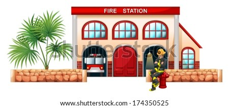 Illustration of a fireman outside the fire station on a white background - stock vector