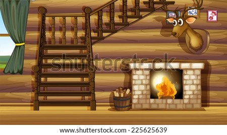 Illustration of a fireplace inside a house - stock vector
