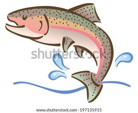 Illustration of a fish jumping out of water. - stock vector