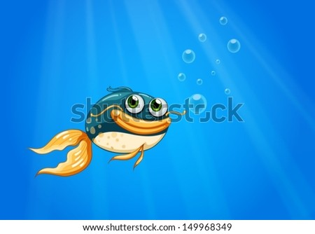 Illustration of a fish with a big mouth under the ocean