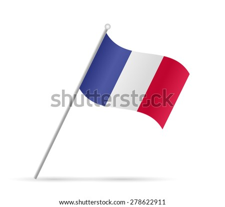 Illustration of a flag from France isolated on a white background. - stock vector