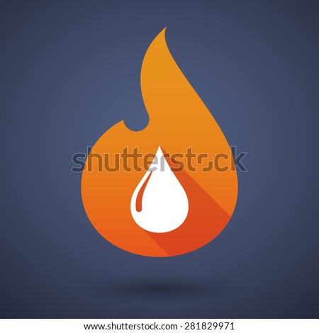 Illustration of a flame icon with a fuel drop - stock vector