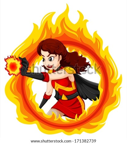 Illustration of a flaming female superhero on a white background - stock vector