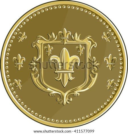 Illustration of a fleur-de-lis,  fleur-de-lys or  flower of the lily depicting a stylized lily or lotus flower inside a crest shield coat of arms set on gold coin medallion medal done in retro style.