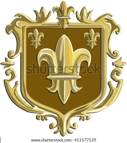 Illustration of a fleur-de-lis or  flower of the lily depicting a stylized lily or lotus flower inside a crest shield coat of arms done in retro style.