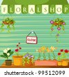 Illustration of a florist shop - stock vector