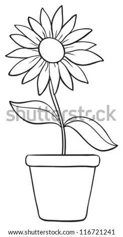 illustration of a flower and a pot sketch on white background - stock vector