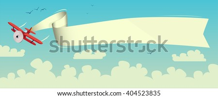 Illustration of a flying airplane with a banner above the clouds - stock vector