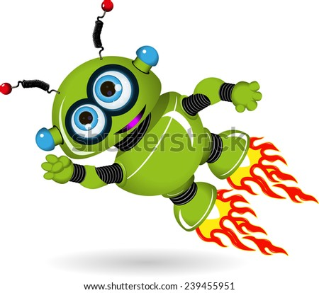 Illustration of a flying green cartoon robot - stock vector