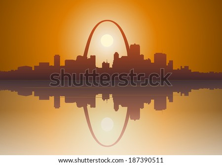 Illustration of a foggy  St. Louis, Missouri sunset over the Mississippi river.  - stock vector