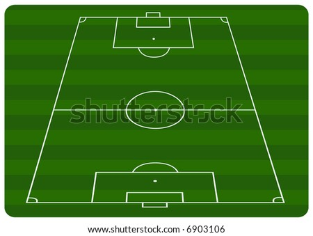 Illustration of a football pitch with green stripes - stock vector