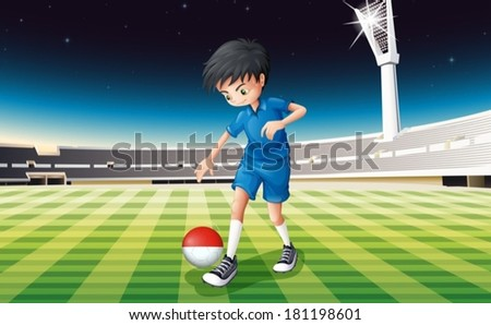 Illustration of a football player at the field using the ball with the Indonesian flag - stock vector