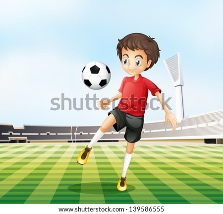 Illustration of a football player in his red uniform - stock vector