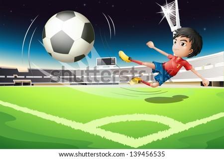 Illustration of a football player kicking a ball - stock vector