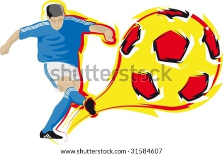 Illustration of a football player kicking a flaming ball