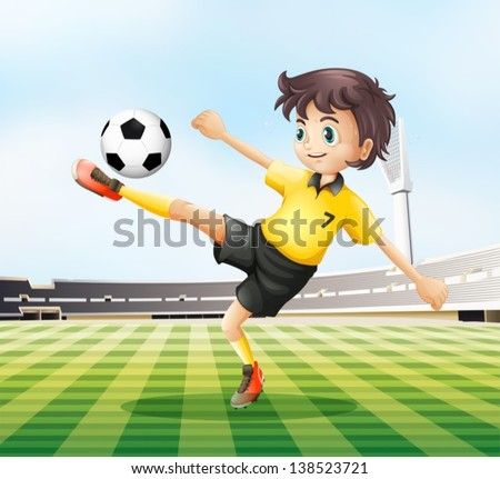Illustration of a football player kicking the ball - stock vector